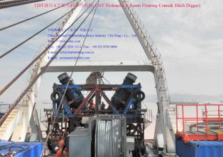 120T Hydraulic A-frame Floating Crane& Ditch Digger